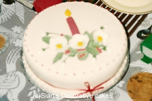 Christmas cake with candle