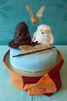 Owl and Sorting Hat cake